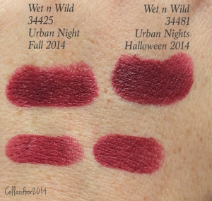 Urban Night from the Fall 2014 collection swatched next to Urban Nights from the Halloween 2014 collection.  I presume that the fall one is supposed to be the matte version of the Halloween shade, but I don't think it looks particularly matte.  These are quite similar.