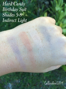 Shade 5 - A light cool grey that does not transfer well onto the eye. This actually just reads as my skin tone but cooler  Shade 6 - A medium/light warm brown that works well as a transition shade Shade 7 - A peach skin tone shade Shade 8 - A light/almost medium grey
