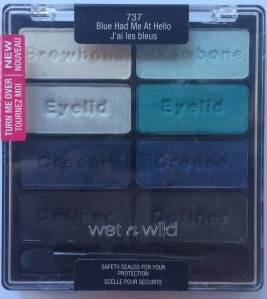 wnw_blue_had_me_at_hello_packaging     Blue Had Me at Hello is over all, pretty good. The only real stinker in this palette is the black on the bottom right. Blue's are not a color I use very often and generally when I do use it, it's as a small accent color. With that said, I may not be the best judge of the quality of this palette but I think this is a pretty stand up palette.