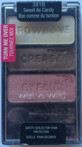 Sweet as Candy is part of the permanent line and has three basic but versatile shades. This one always reminds me of Neapolitan ice cream. Wet n Wild shadows do tend to be softer shadows. I like that for application but it does make them particularly prone to breaking, as you can see here.