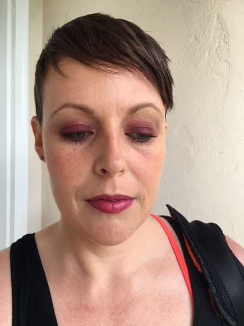 "Revlon Nearly Naked powder, Nars Laguna bronzer, MAC ""This Could Be Fun"" blush, Notoriously Morbid ""Osteomancy"" highlight and YSL Volupte Shine ""Prune In Fire"""
