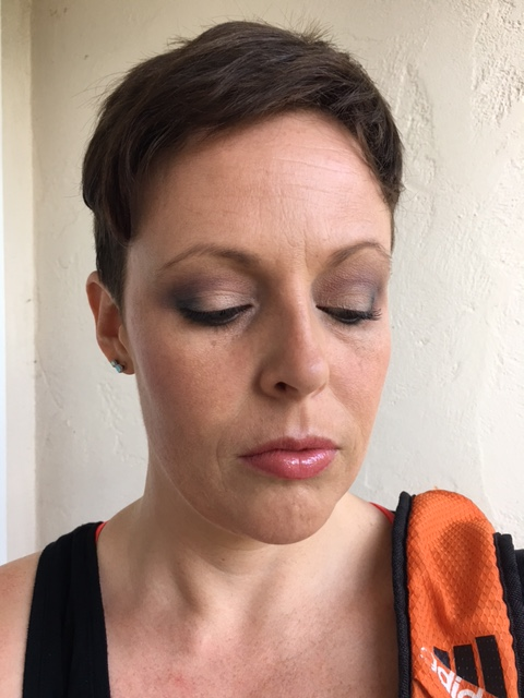 "Revlon powder, WnW ""Heather Silk"" blush, NYX ""Frostbite"" eyeshadow as highlight, DR Jart BB Cream, Buxom ""Olivia"" lip gloss."