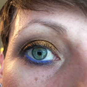 "UDAAPP + Darling Girl Glitter Glue. I used the Kat Von D Chrysalis Palette as a companion. BASE: Lifelike TRANSITION: Glasswing CREASE and OUTER CORNER: Tornay BLENDING LOWER LASH LINE: Black Milk LINING LOWER LASH LINE: Entombed LID: 13 Gypsies MASCARA: Max Factor WATERLINE: Pixi Endless Silky Eye Pen ""Cobalt Blue""TIGHTLINE: Avon Perfect Point Plus"