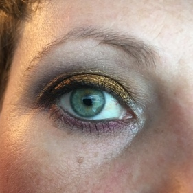"""UDAAPP + Rimmel eyeshadow pencil """"Blackmail"""". I used the Kat Von D Chrysalis Palette as a companion. BASE: Lifelike TRANSITION: Glasswing CREASE and OUTER CORNER: Hybrid Moments BLENDING LOWER LASH LINE: Black Milk LINING LOWER LASH LINE: Mezzanine LID: 13 Gypsies MASCARA: Max Factor WATERLINE/TIGHTLINE: Avon Perfect Point Plus"""