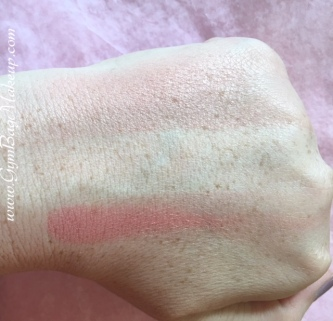 Top is a blended out swatch and bottom is built up to show tone. Photo in indoor lighting.